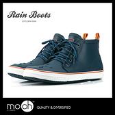 歐美 短筒綁帶拚色男款雨鞋 男款雨靴 低筒 防水 時尚 mo.oh (歐美鞋款)