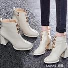 防水臺高跟馬丁靴女百搭時裝短靴粗跟白色靴子保暖加絨冬季短筒靴 樂活生活館