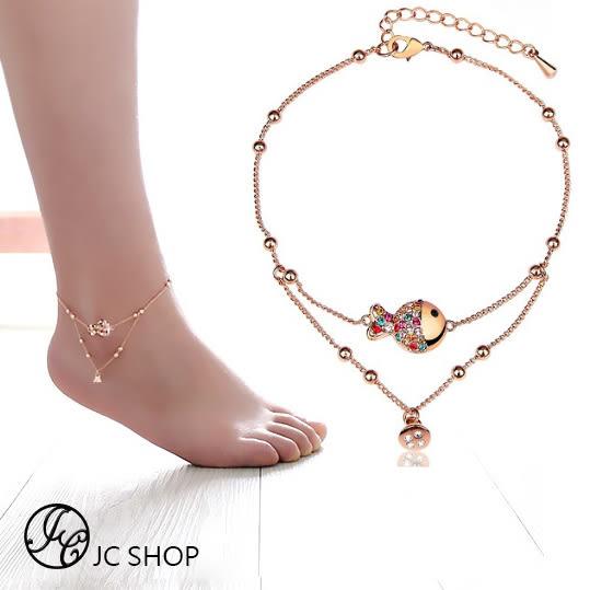 性感浪漫鑲鑽雙層腳鍊 香檳金彩鑽魚腳鍊  (0617)
