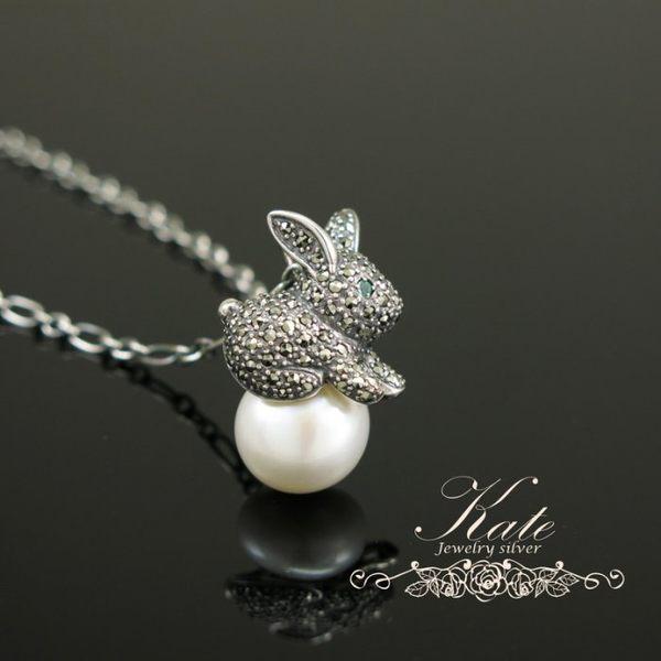銀飾純銀項鍊 維多利亞款 小兔子 天然祖母綠珍珠 馬克賽鑽 925純銀寶石單墬 KATE銀飾