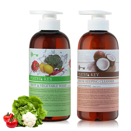 8折!PERTH`S KEY椰子油黑肥皂+蔬果清潔液各500ml