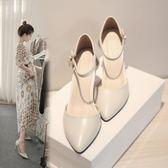 618好康鉅惠白色中跟高跟鞋細跟尖頭女鞋小碼伴娘婚鞋