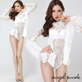 天使波堤~AD00869 ~ 明星款蕾絲荷葉長袖比基尼連身可訂做加大碼表演服長腿辣妹白色派