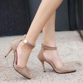 春夏季新款一字扣帶尖頭涼鞋女中跟高跟包頭細跟百搭韓版女鞋