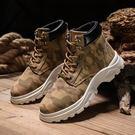 迷彩馬丁靴男作戰軍靴短靴秋季新款沙漠靴子男韓版高幫潮鞋工裝鞋
