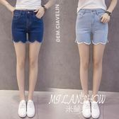 新款韓版修身大碼學生荷葉毛邊百搭彈力高腰顯瘦牛仔短褲女夏