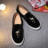 懶人鞋樂福鞋 一腳蹬平底火烈鳥刺繡樂福鞋休閒懶人鞋 巴黎春天