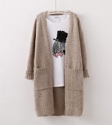 秋裝新品V領口袋開衫花線混色時尚中長款毛衣外套