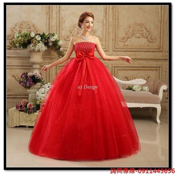 (45 Design) 訂做款式7天到貨 新款紅色婚紗禮服孕婦大碼韓版結婚蕾絲顯瘦抹胸齊地婚紗冬