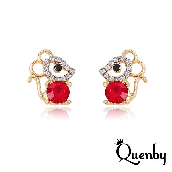 Quenby 925純銀 鼠年帶鑽甜美貼耳小老鼠耳環/耳針