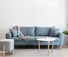 【歐雅系統家具】卓卡拉扣設計布沙發-三人座-冰河藍