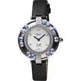 Ogival 愛其華 流光瀲灩高雅珠寶女錶-珍珠貝/34mm 380-45DL黑帶藍寶