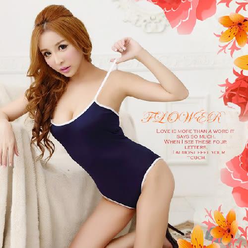 【伊莉婷】校園純愛 日式低胸體育服 藍色 校園 連身 泳裝 死庫水 水著衣