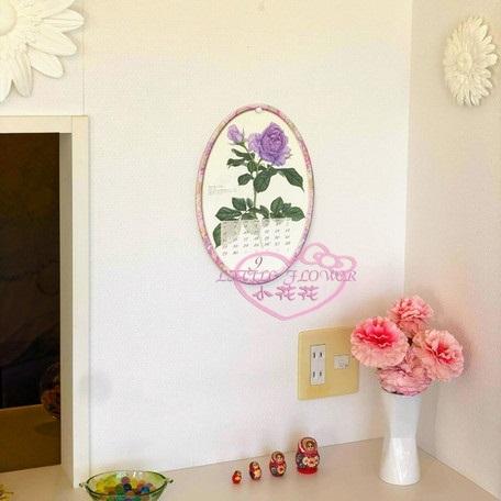 ♥小花花日本精品♥Roses各式花朵玫瑰圖案橢圓造型年曆行事曆掛曆2019年版本 日本製 99959500