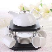 下午茶茶具組合含咖啡杯+茶壺-6人簡約歐式高檔陶瓷茶具2色69g75[時尚巴黎]