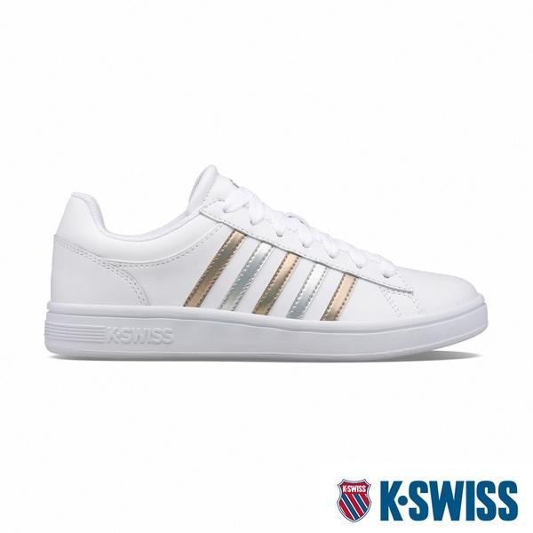 K-SWISS Court Winston時尚運動鞋-女-白/銀/金