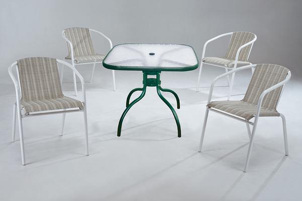 【 IS空間美學】休閒方桌+休閒蘋果椅 (一桌四椅)