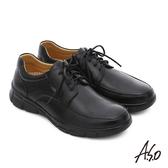 A.S.O 輕旅健步 綿羊皮拼接牛皮綁帶奈米氣墊皮鞋  黑