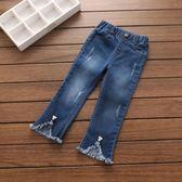 寶寶純色牛仔褲 2018春裝韓版新款女童童裝兒童流蘇長褲kz-a053  無糖工作室