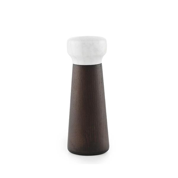 Normann Copenhagen Craft 大理石 粗鹽 /胡椒研磨罐 小尺寸(鹽罐 - 褐色橡木 + 白色大理石)