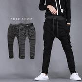 [現貨] 抽繩鬆緊棉質大口袋設計 灰黑色 哈倫長褲 潮流棉褲 舒適好穿彈性伸縮運動褲【QZZZ7182】