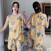 睡衣 夏季女士短袖背心棉綢睡衣套裝韓版卡通吊帶綿綢人造棉家居服大碼