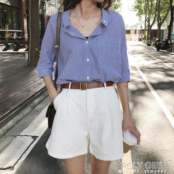 白色工裝短褲女夏2021新款韓版寬鬆百搭高腰ins潮5分休閒褲 夏季新品
