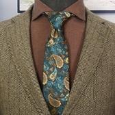 8cm佩斯利腰果花墨綠色 歐美復古高檔商務晚會婚禮新郎男士領帶呔