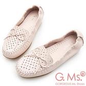 G.Ms. MIT系列-超軟Q彈力沖孔蝴蝶結牛皮莫卡辛休閒鞋-粉紅
