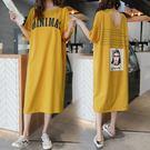 微購【A4201】字母人像印花短袖連身裙...
