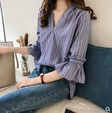 涼感上衣~小中大尺碼短板上衣~女裝韓版氣質喇叭袖條紋襯衫1F144A莎菲娜