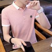 夏裝正韓潮流襯衫領條紋男士短袖T恤翻領POLO衫衣服潮 森雅成品