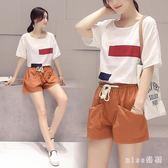 新款韓版大碼女裝微棉麻胖妹妹減齡藏肉新款亞麻短褲兩件套 js4839『miss洛羽』