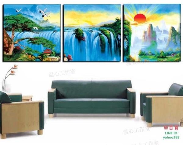無框畫裝飾畫走廊沙發背景客廳臥室掛畫壁畫三聯福星高照