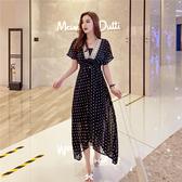 超殺29折 韓系V領系帶寬鬆顯瘦前短后長長版短袖洋裝