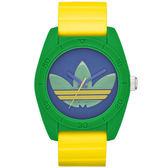 adidas 街潮繽紛三葉休閒腕錶-黃帶x綠框/中