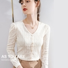 V領蕾絲衫長袖法式復古鏤空上衣(二色S-...