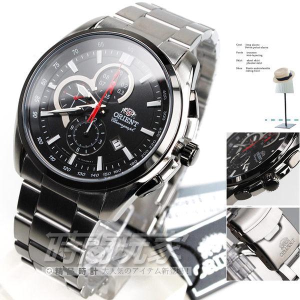 ORIENT東方錶 大錶面 IP黑電鍍錶圈 日期顯示 計時碼表 三眼錶 黑面 男錶 FTT13001B 時間玩家