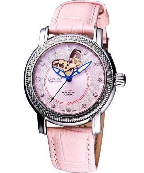 Ogival 愛其華 《蝶之舞》真鑽心跳機械腕錶-粉 358-18AM-1059