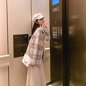 毛呢外套 韓系秋冬西裝領格子寬鬆短大衣 花漾小姐【預購】