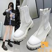網紗馬丁靴女薄款短靴百搭透氣涼靴子鏤空網靴【慢客生活】
