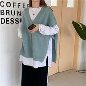 DE shop -慵懶寬鬆開叉設計長袖針織馬甲毛衣針織背心 - HL-8770