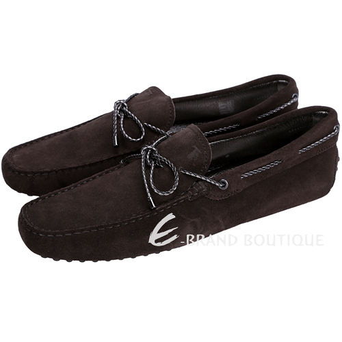 TOD'S Gommino Driving 雙色編織綁帶豆豆休閒鞋(深咖啡色) 1510165-C7