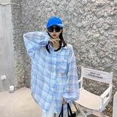 防曬衣~j經典中長款薄款沙灘休閑防曬外套女襯衣原宿風格子襯衫N510-A胖妹大碼女裝