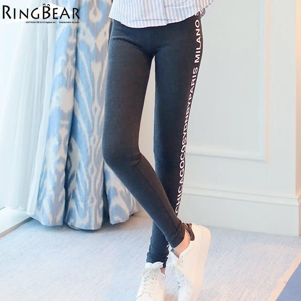 內搭褲--超高彈力運動風雙側英文印圖鬆緊腰頭窄管貼腿內搭褲(黑.灰XL-4L)-P128眼圈熊中大尺碼
