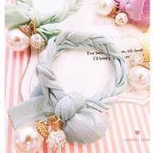 奶油色麻花繩珍珠造型髮束 髮圈【櫻桃飾品】【20127】