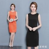 2020春夏新款修身大碼女裝時尚OL職業包臀打底裙子無袖背心洋裝XL3538【東京衣社】