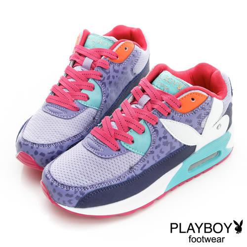 PLAYBOY 豹紋 網布 慢跑運動休閒鞋-紫