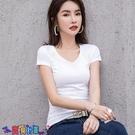 短袖T恤 素色T恤短袖t恤女裝2021新款潮純棉半袖韓版純色白色打底衫低領上衣夏季【寶貝 上新】
