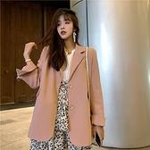 西裝外套-粉色寬鬆長版時尚女休閒西服73xj38[巴黎精品]